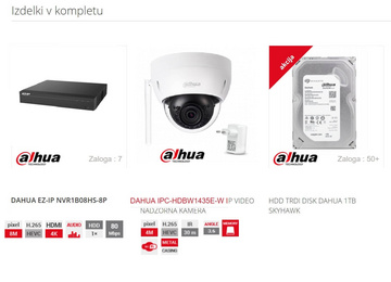 VIDEO NADZORNI KOMPLET Dahua EZ-IP 1B08HS  + HDBW1435E-W priklop do 8 kamer